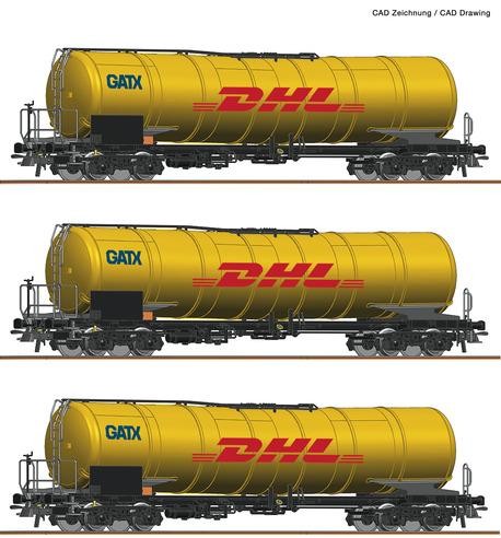 Zestaw 3 wagonów cystern Zacns GATX DHL Kerosin Express Roco 76029 (1)