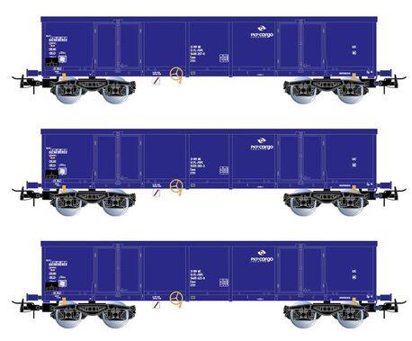 Zestaw 3 wagonów węglarek Eaos PKP Cargo z ładunkiem HR6536 (1)