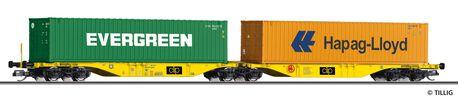 Wagon platforma kontenerowa CLIP INTERMODAL Sp. z.o.o. Tillig 18069 (skala TT) (1)