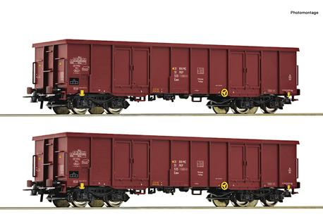 Zestaw 2 wagonów węglarek Eaos PKP Roco 76038 (1)