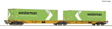 Dwuczłonowy wagon platforma Sggmrs z kontenerami Westerman Roco 76631 (1)