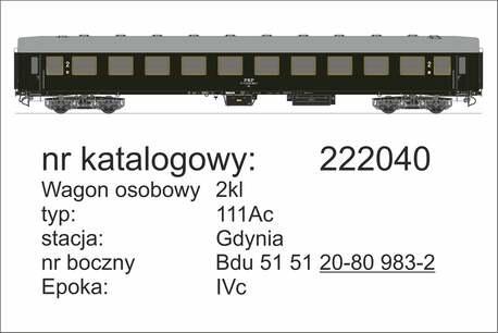 Wagon 2 klasy 111Ac stacja Gdynia z oświetleniem Robo 222041 (1)