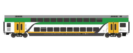 Wagon piętrowy środkowy KM Koleje Mazowieckie Roco 74161 (1)