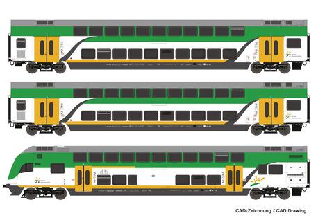 Zestaw wagonów piętrowych KM Koleje Mazowieckie Roco 74160 (1)