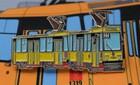 Przypinka - tramwaj 105Na Warszawa żółty (1)